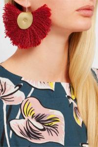 Red Hand fan earrings by Katerina Makriyianni, represented by Maria Kastani in her London showroom